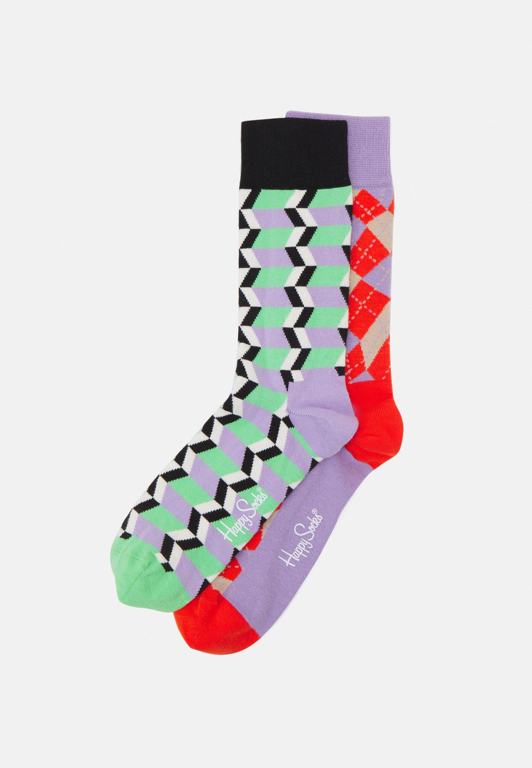 Women ZIG ZAG STRIPE SOCK DISTORTED ARGYLE SOCK UNISEX2 PACK - Socks