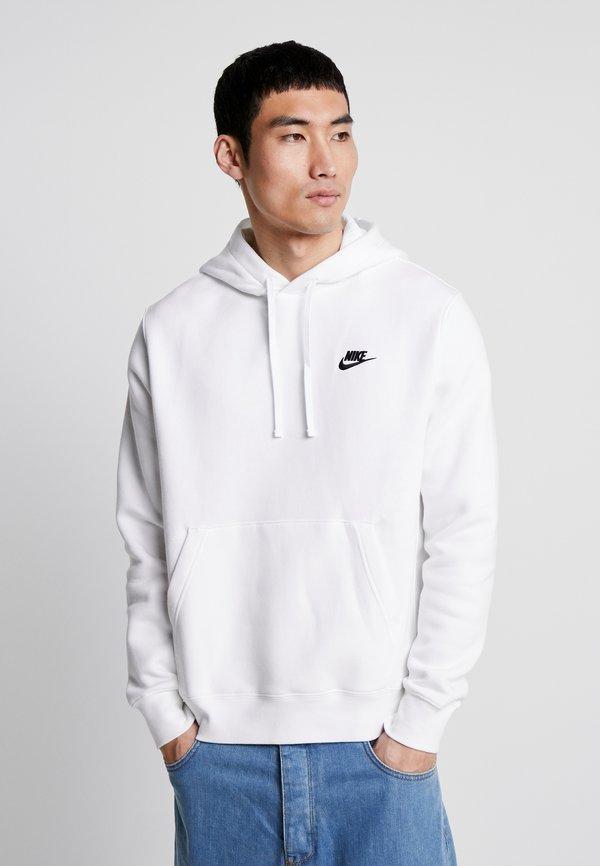 Nike Sportswear CLUB HOODIE - Bluza z kapturem - white/black/biały Odzież Męska PWQY