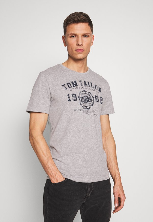 TOM TAILOR BASIC T-SHIRT 3 PACK - T-shirt z nadrukiem - middle grey melange/szary Odzież Męska JQXP