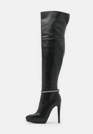 LEATHER - Korolliset saappaat - black