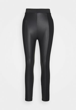 PU LEGGINGS WITH PUNTO INSERTS - Leggingsit - black