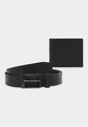 LEATHER SET WALLET & BELT - Portefeuille - black