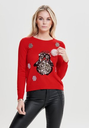 ONLXMAS PENGUIN CHRISTMAS - Jumper - goji berry