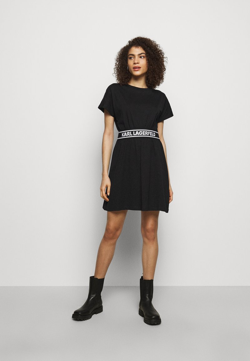 KARL LAGERFELD - LOGO TAPE DRESS - Žerzejové šaty - black