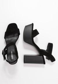 Even&Odd - LEATHER PLATFORM HEELED SANDAL - Korolliset sandaalit - black - 3