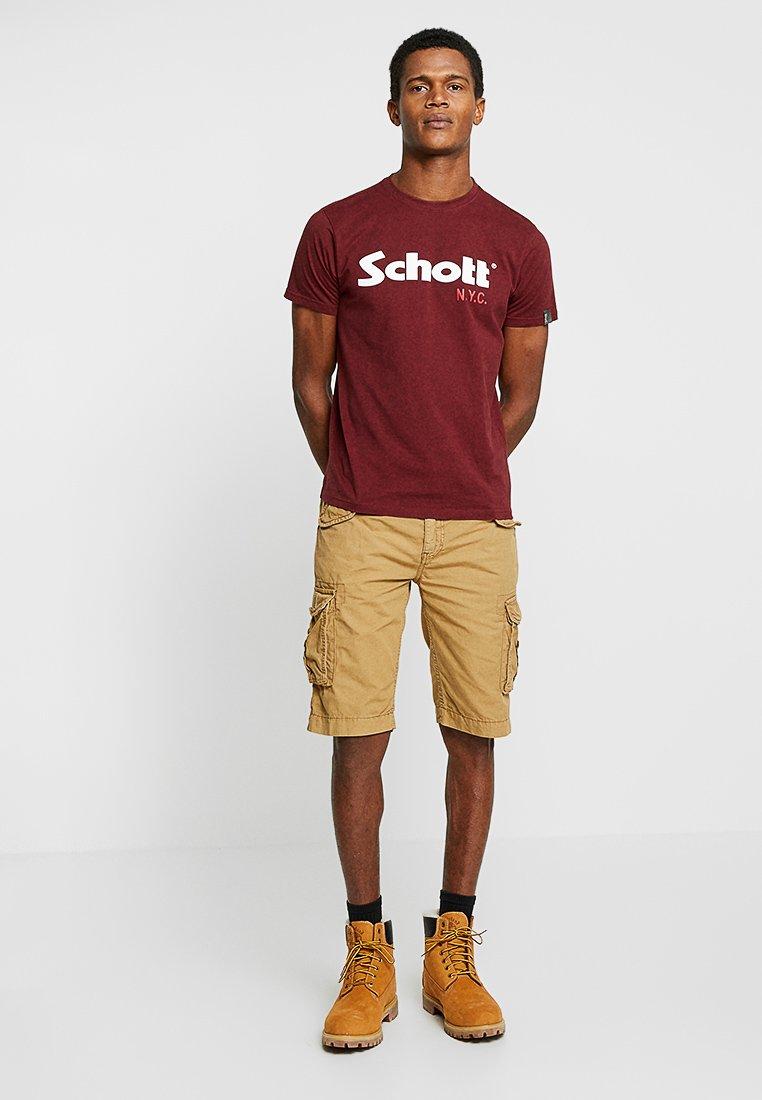 Schott - LOGO 2 PACK - Print T-shirt - khaki/bordeaux