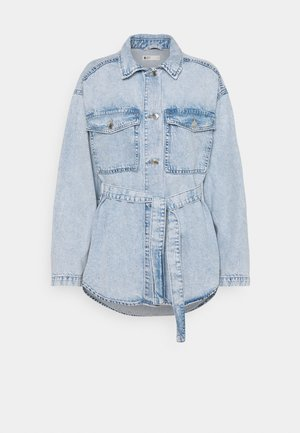 BELTED SHACKET - Denim jacket - blue