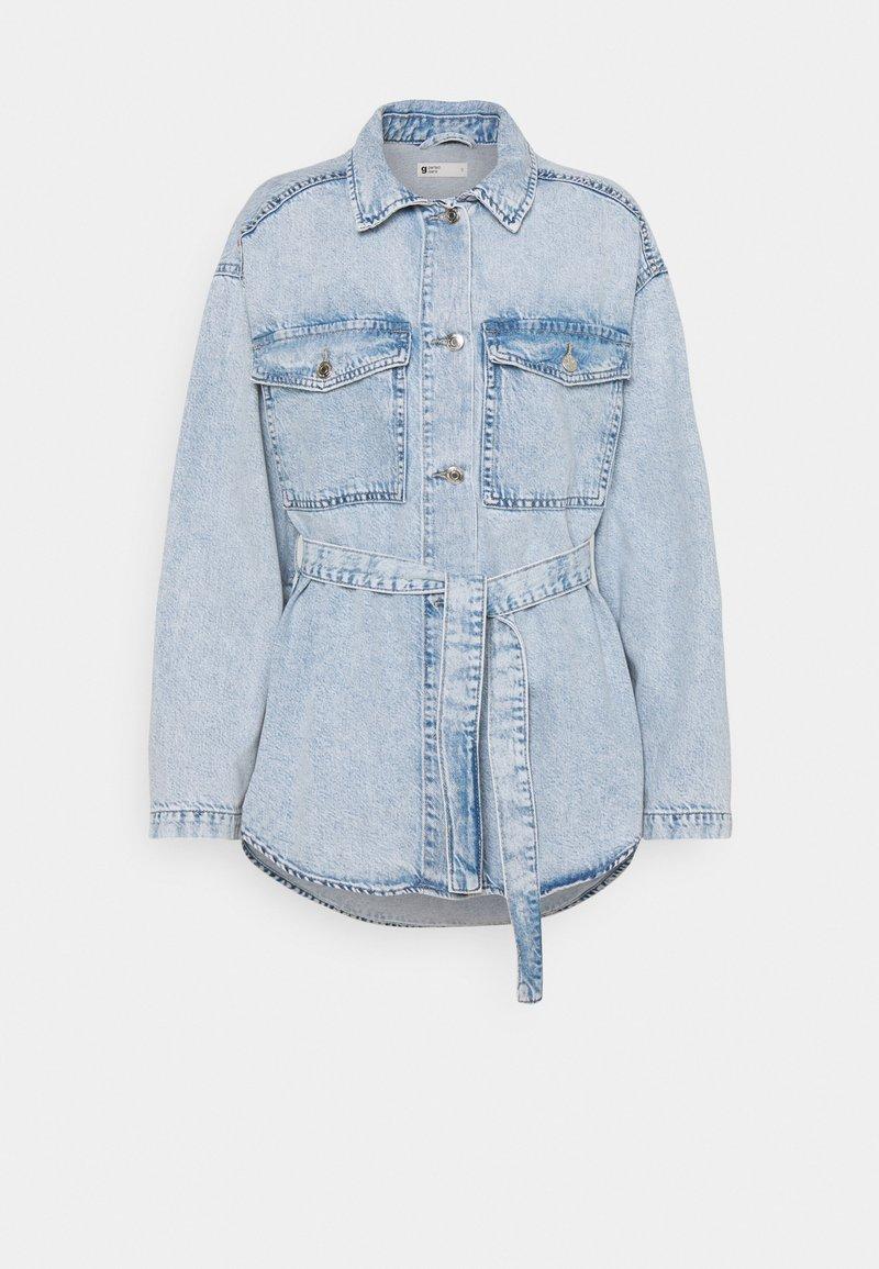 Gina Tricot - BELTED SHACKET - Denim jacket - blue