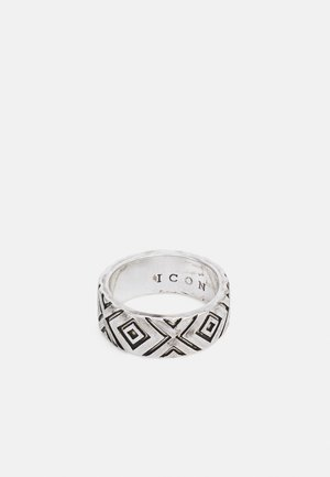 BRUTALIST PATTERNED ROUND  - Ring - silver-coloured