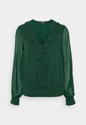 SHIRRED HEM RUFFLE  - Blouse - forest green