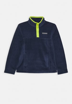 STEENS 1/4 SNAP - Fleece jumper - collegiate navy/bright chartreuse