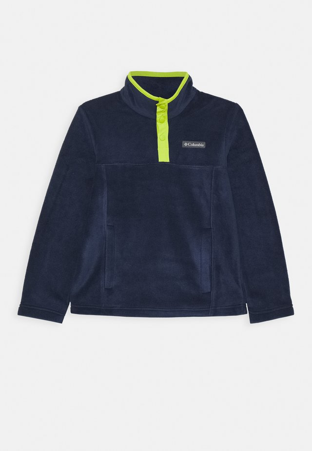 STEENS 1/4 SNAP - Sweat polaire - collegiate navy/bright chartreuse