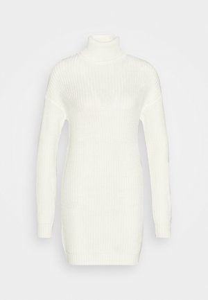 ROLL NECK BASIC DRESS - Pletené šaty - off white