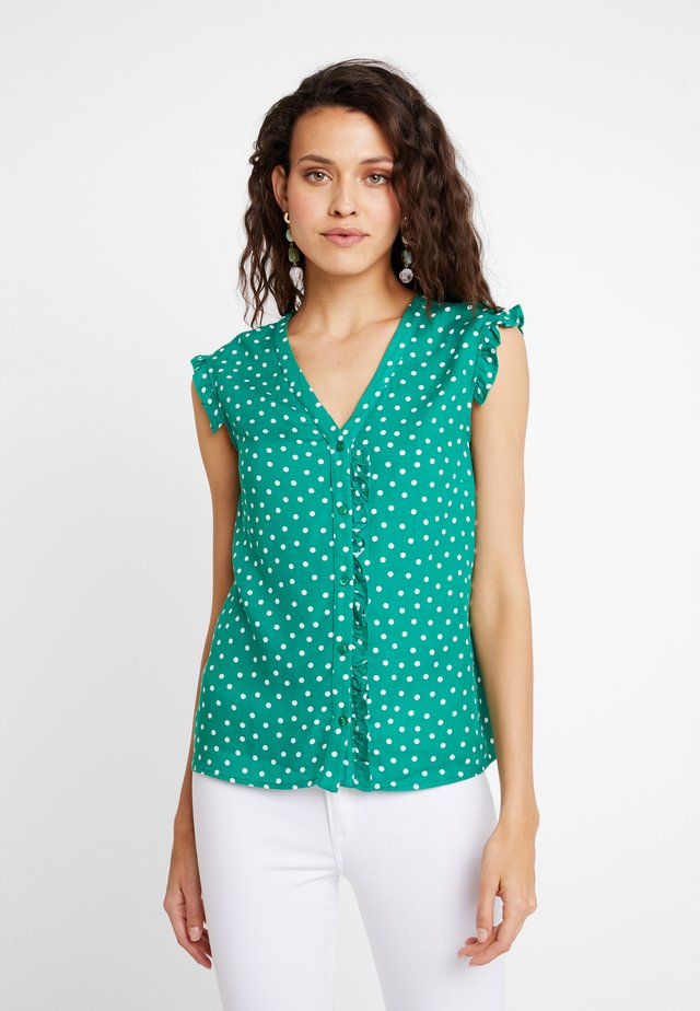 Blouse - green/white
