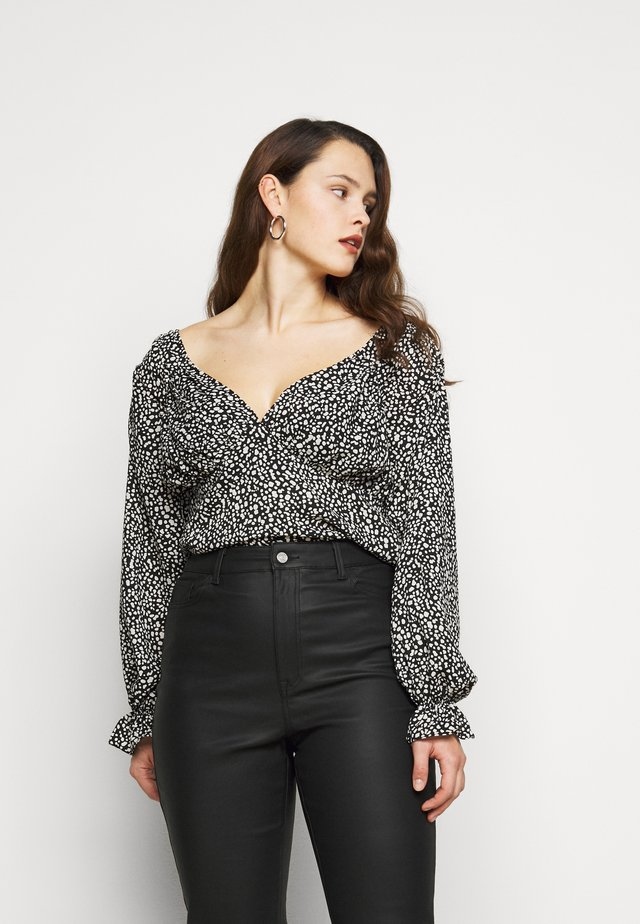 PLUS SIZE DALMATION PEPLUM BLOUSE - Blouse - black