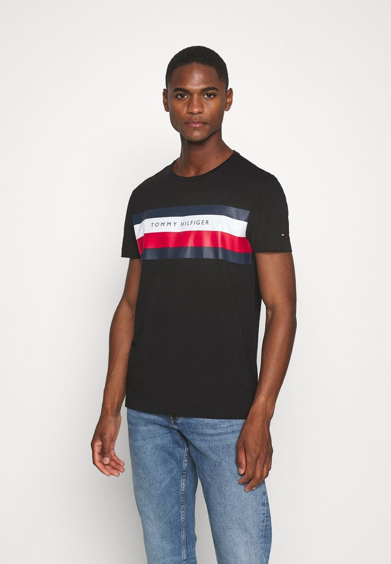 Tommy Hilfiger - STRIPE TEE - Camiseta estampada - black