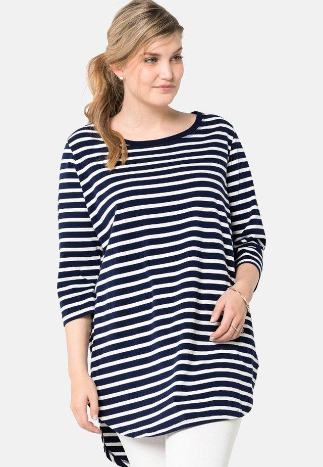 Long sleeved top - dark blue/white