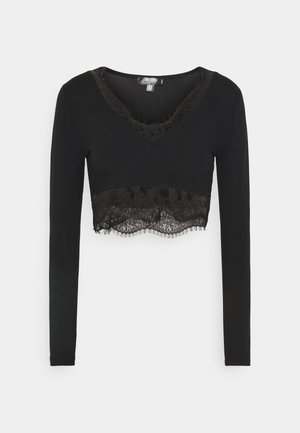 TRIM CROP - Blusa - black