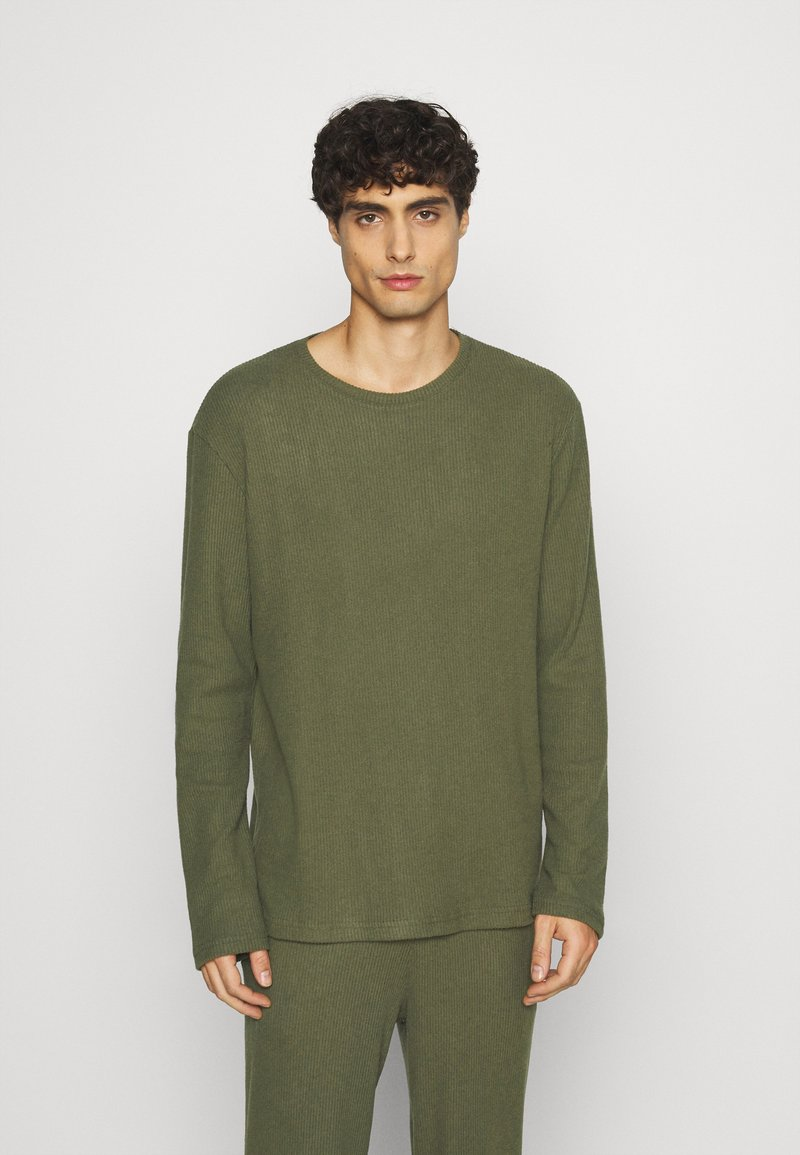 Pier One - RIBBED LOUNGE TOP - Pyžamový top - khaki