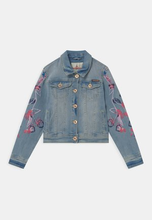 EMBROIDERED FLOWERS - Chaqueta vaquera - light indigo