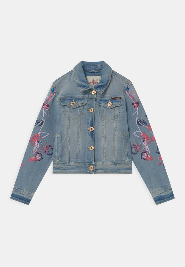 EMBROIDERED FLOWERS - Jeansjacke - light indigo