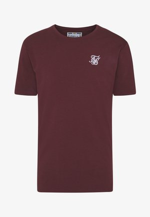 CONTRAST ROLL SLEEVE TEE - Basic T-shirt - burgundy/white