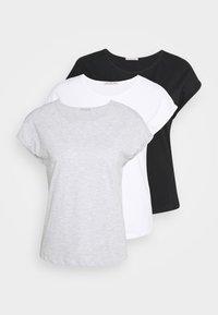 3 PACK - Jednoduché triko - black/white/mottled light grey