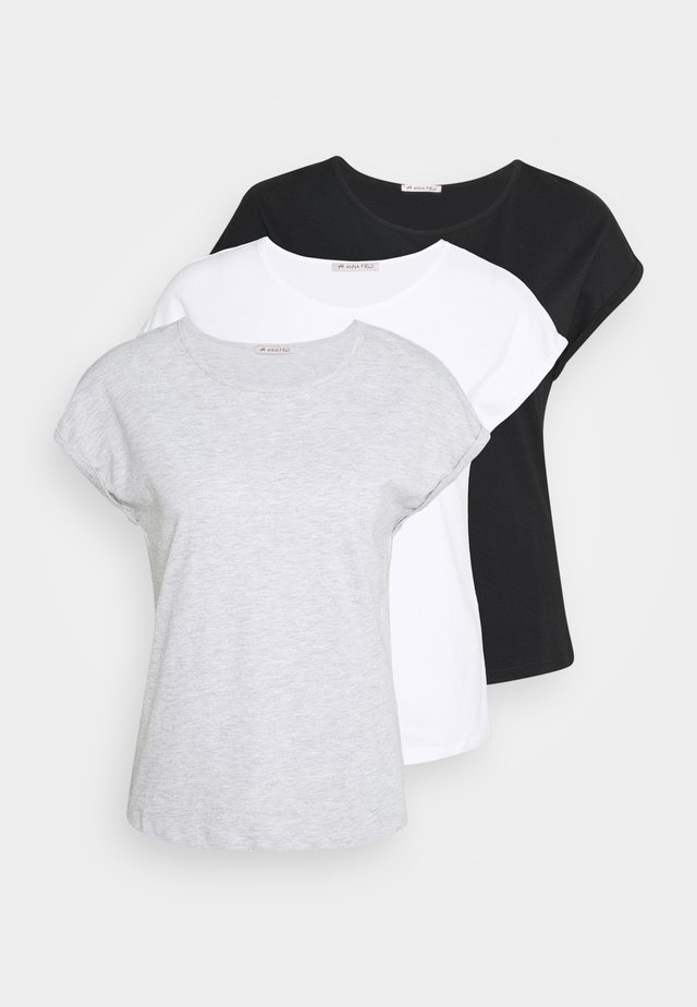 3 PACK - Basic T-shirt - black/white/mottled light grey