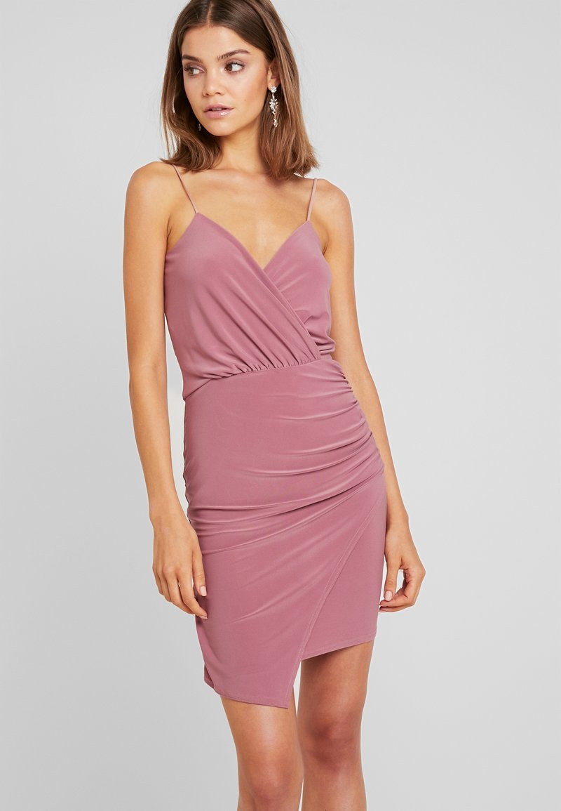 Missguided - SLINKY WRAP OVER MINI DRESS - Pouzdrové šaty - rose