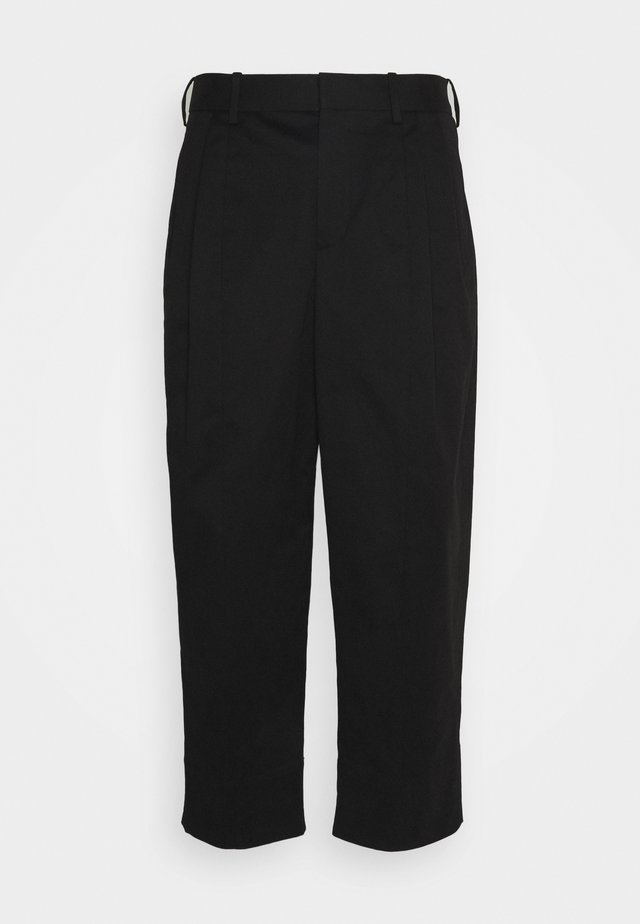 PLEAT WIDE LEG - Pantalon classique - black