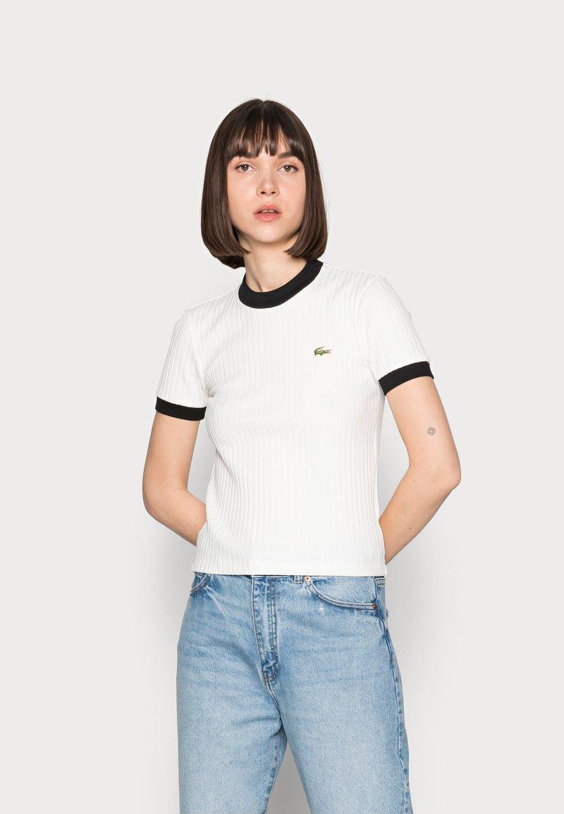 Lacoste LIVE - Print T-shirt - farine/noir
