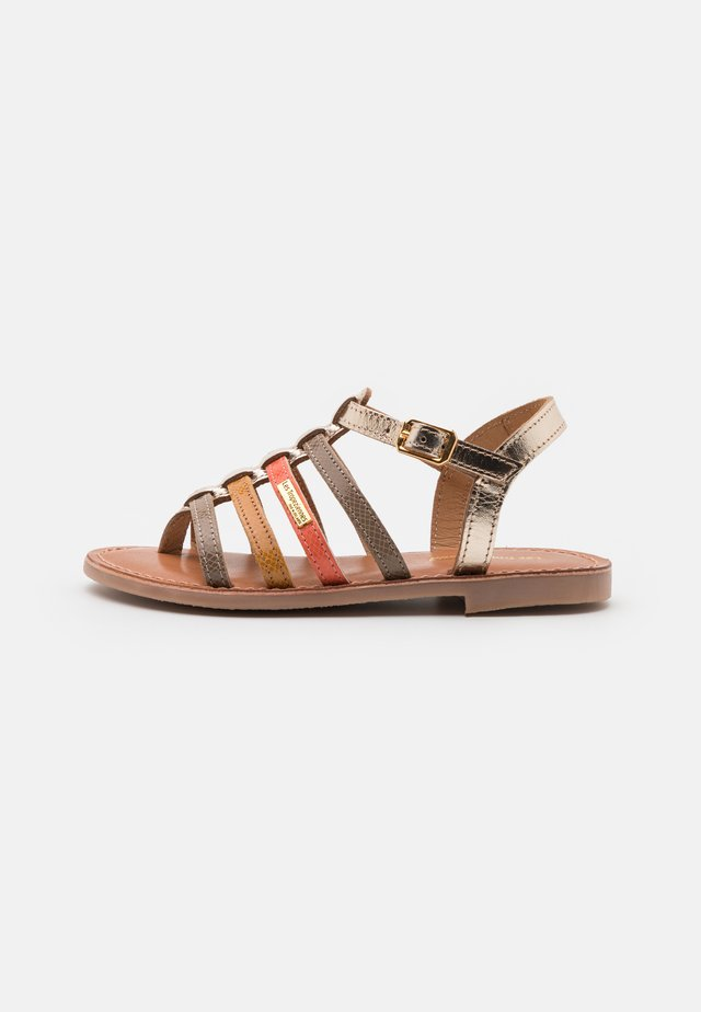 HIRSON - T-bar sandals - taupe/multicolor