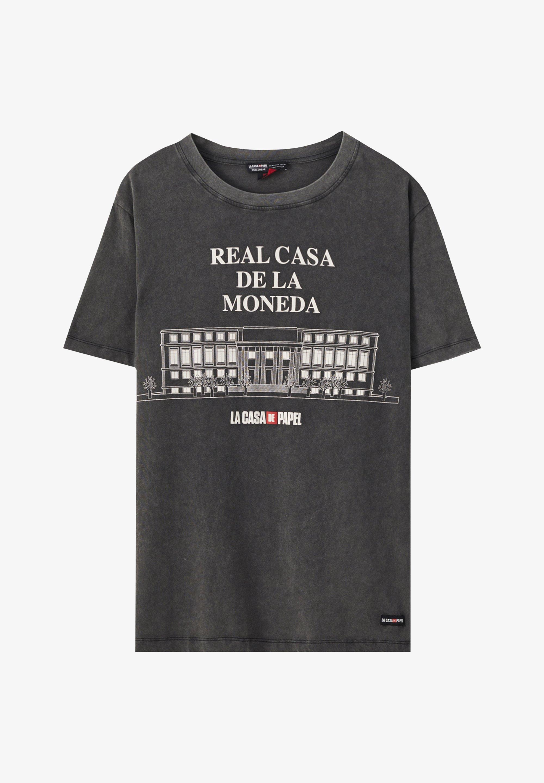 Pull Bear La Casa De Papel T Shirt Print Dark Grey Dunkelgrau Zalando De