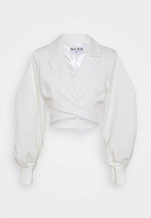 OVERLAPPED PUFFY SLEEVE - Bluzka - white