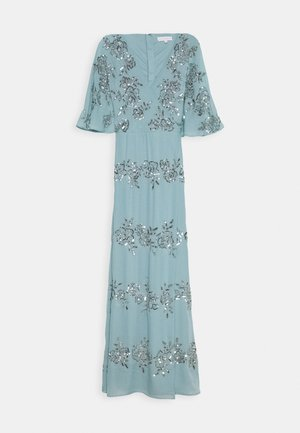 WRAP FRONT ALL OVER EMBELLISHED CAPE MAXI DRESS - Abito da sera - blue