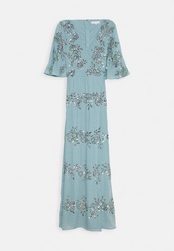 WRAP FRONT ALL OVER EMBELLISHED CAPE MAXI DRESS - Společenské šaty - blue