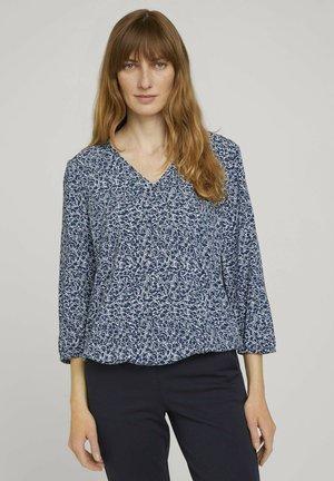 Blouse - blue offwhite minimal