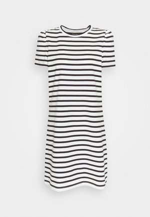 STRIPE PUFF SLEEVE DRESS - Žerzejové šaty - cream
