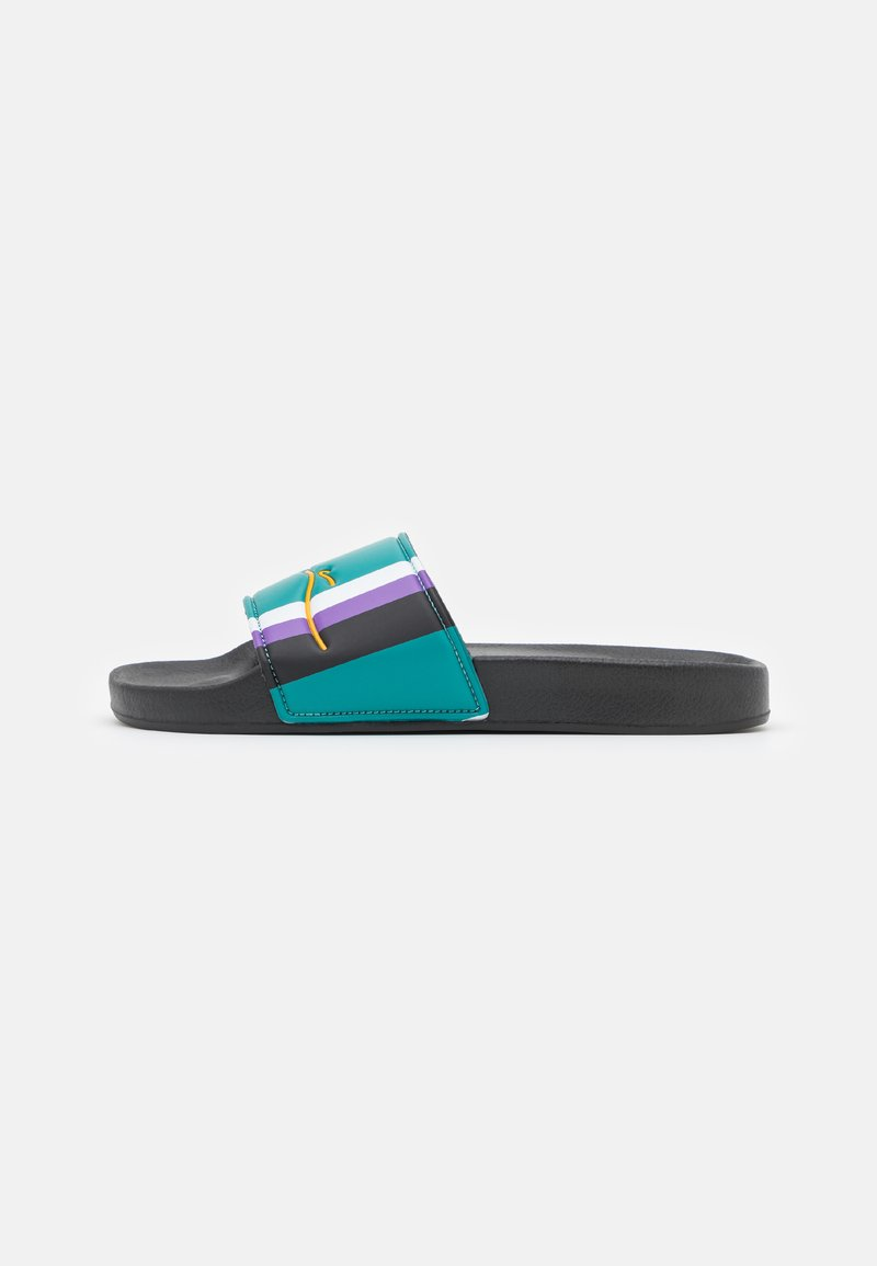 Karl Kani - SIGNATURE STRIPE POOL SLIDES - Matalakantaiset pistokkaat - turquoise/black/white