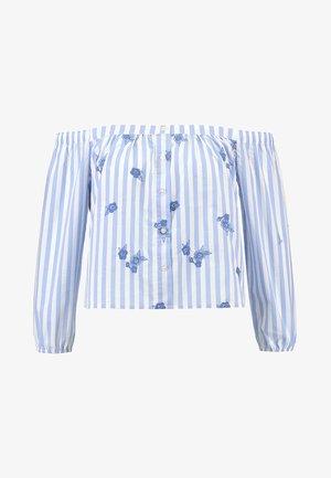 TIE FRONT SLIT SHIRT - Blůza - blue/white