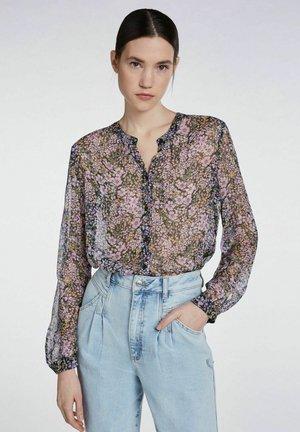 MIT BLUMENPRINT - Button-down blouse - black violett
