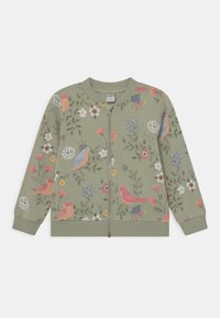Lindex - MINI BIRD AND FLOWER - Zip-up hoodie - dusty green - 0