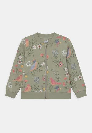 MINI BIRD AND FLOWER - Mikina na zip - dusty green