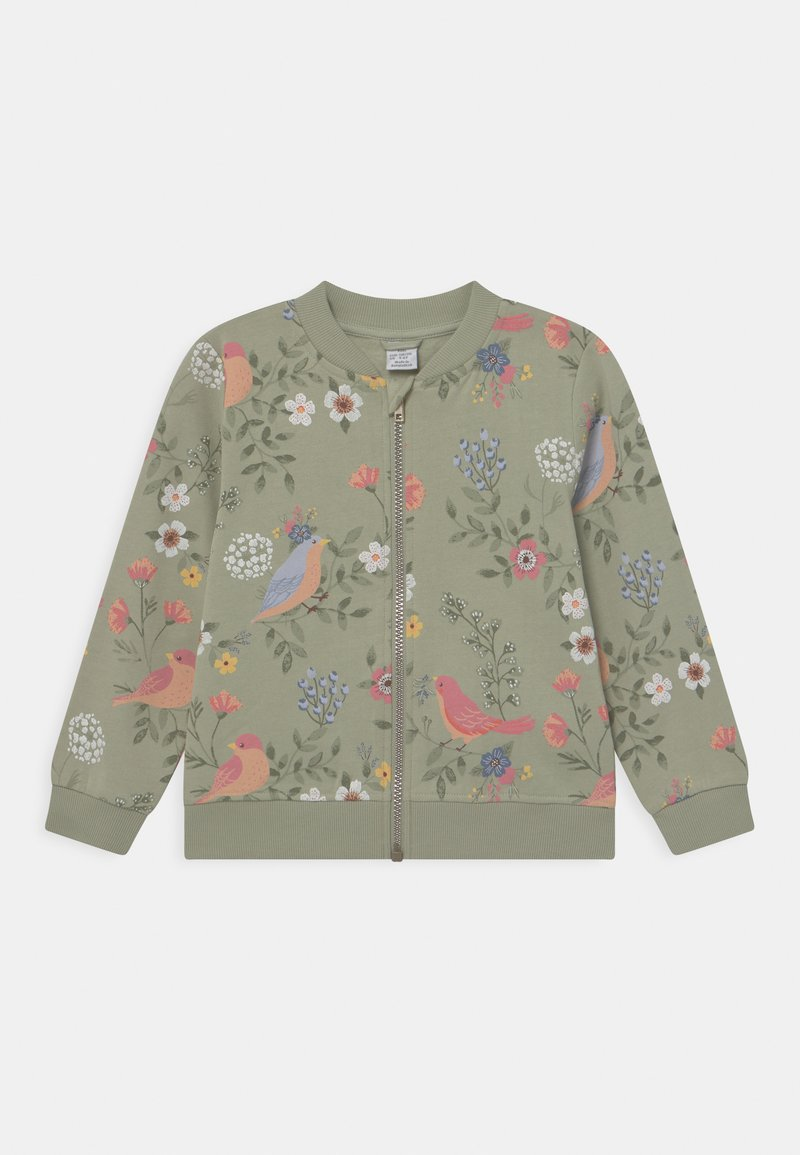 Lindex - MINI BIRD AND FLOWER - Zip-up hoodie - dusty green