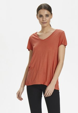 ANNA V NECK - T-shirt basic - dull orange