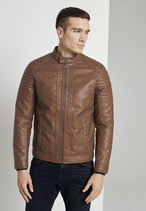 Faux leather jacket - mid brown fake leather