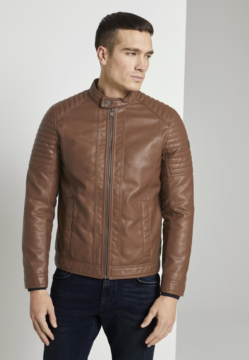 TOM TAILOR - Faux leather jacket - mid brown fake leather