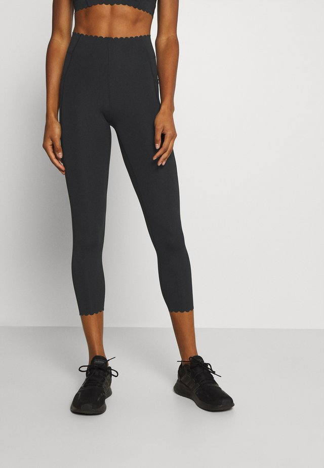 SCALLOP HEM 7/8  - Leggings - black
