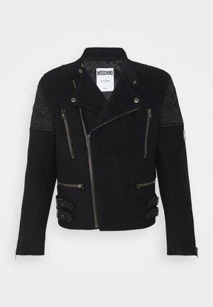 LONG JACKET - Faux leather jacket - black