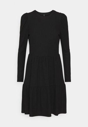 ONLNELLA PUFF DRESS - Stickad klänning - black